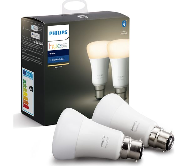 Image of PHILIPS HUE White Bluetooth LED Bulb - B22, Twin Pack