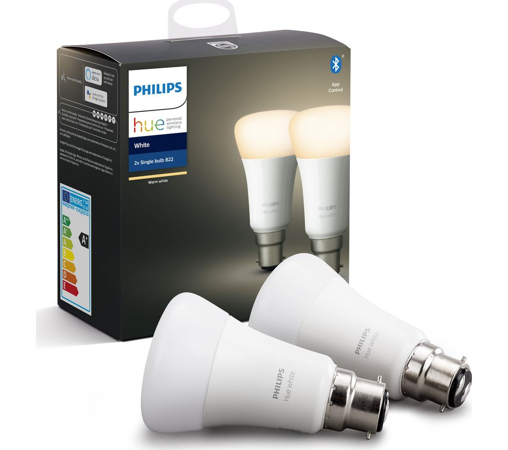Hue White Bluetooth LED Bulb - B22, Twin Pack, White