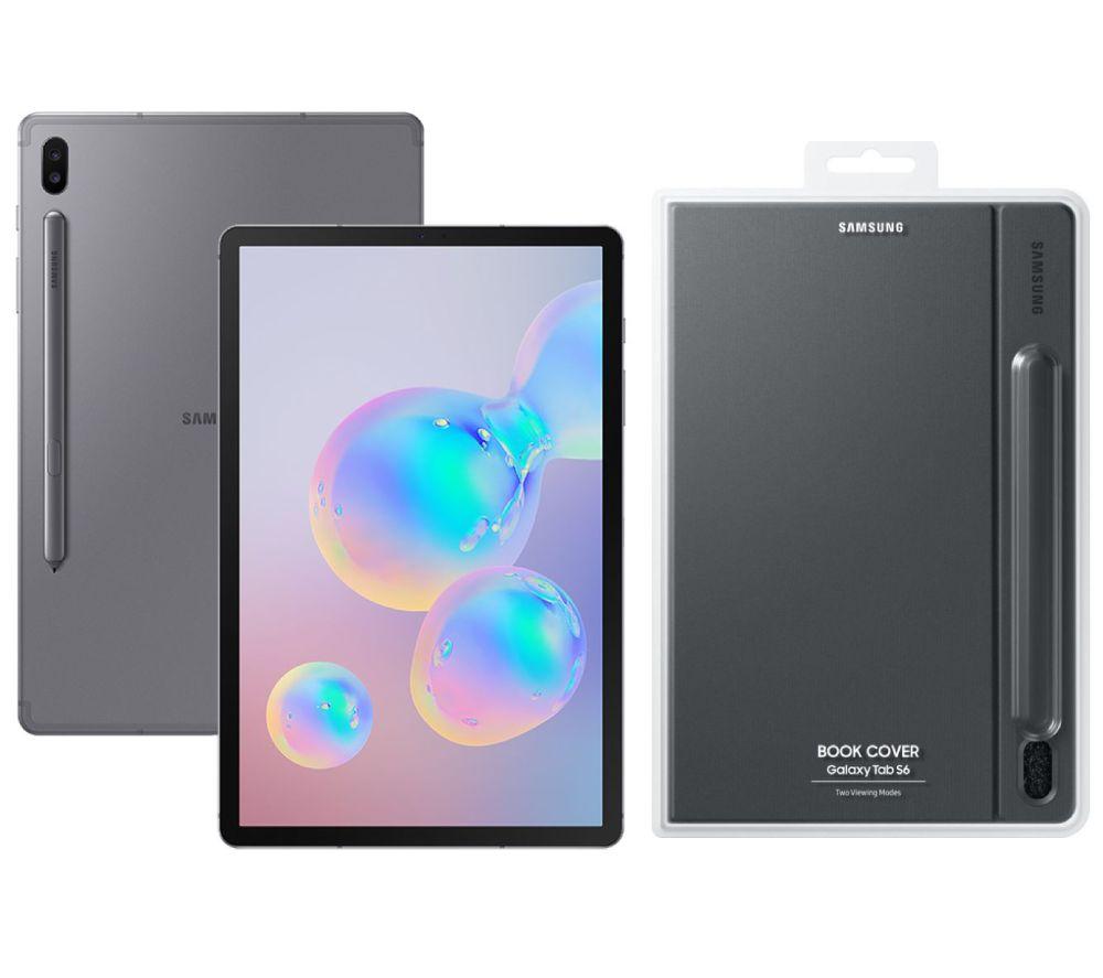 "SAMSUNG Galaxy Tab S6 10.5"" Tablet & Galaxy Tab S6 Cover Bundle - 128 GB, Mountain Grey"