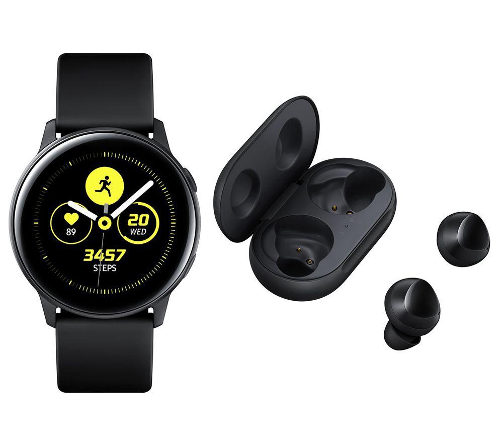 SAMSUNG Galaxy Watch Active2 4G & Black Galaxy Buds Bundle - Black, Leather & Stainless Steel, 44 mm