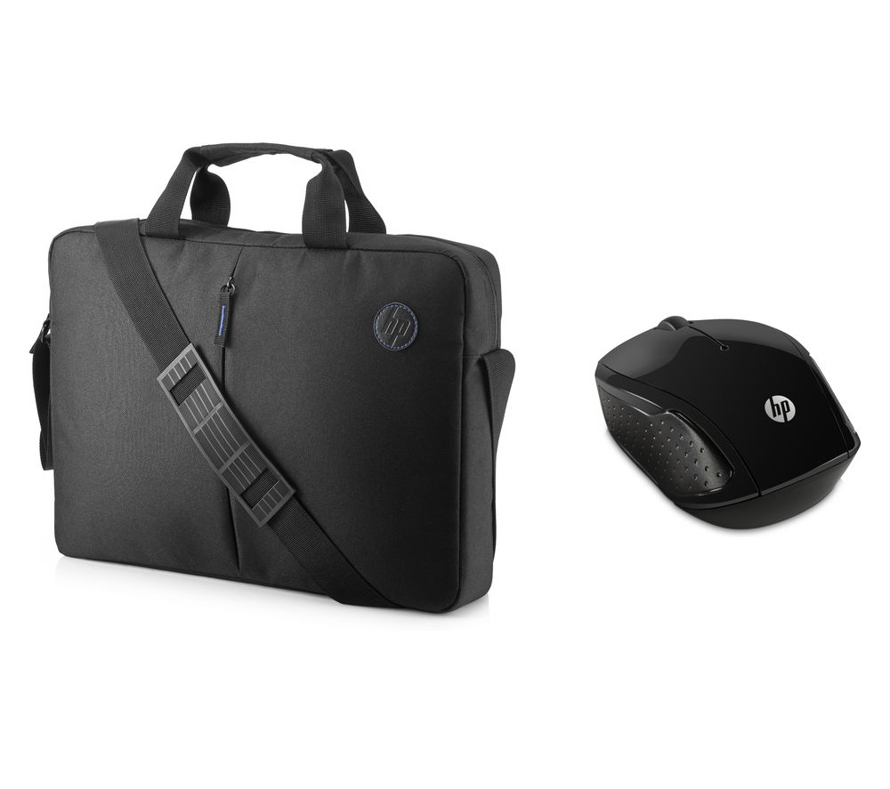 "Image of HP 15.6"" Focus Topload Laptop Case & Wireless Mouse 200 Bundle - Black, Black"