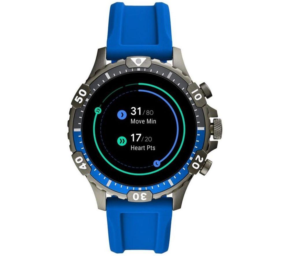 Image of FOSSIL Garrett HR FTW4042 Smartwatch - Blue, Silicone, 46 mm, Blue