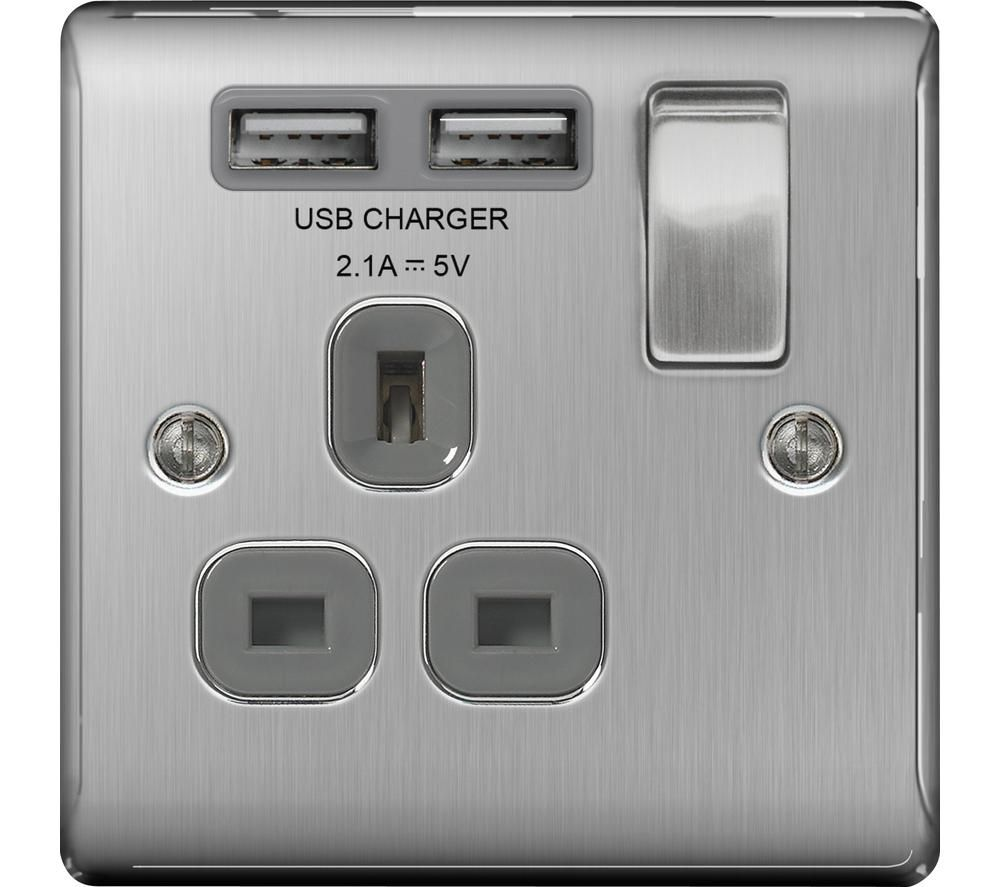 BG ELECTRICAL NBS21U2G-01 Switched Power 1-Socket Outlet