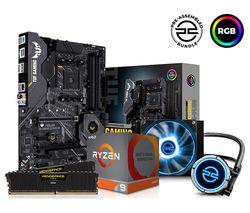 AMD Ryzen 9 XT Processor, TUF GAMING Motherboard, 16 GB RAM & FrostFlow Liquid Cooler Components Bundle