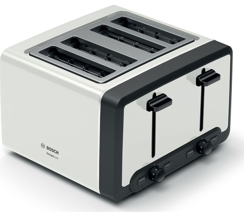 Image of BOSCH DesignLine TAT5P441GB 4-Slice Toaster – White, White