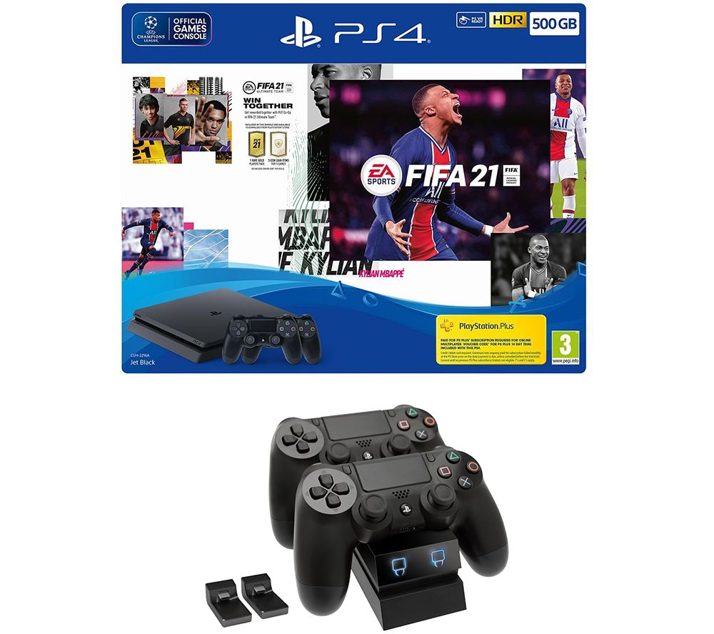SONY PlayStation 4 with FIFA 21, Two DualShock Wireless Controllers & Twin Docking Station Bundle -
