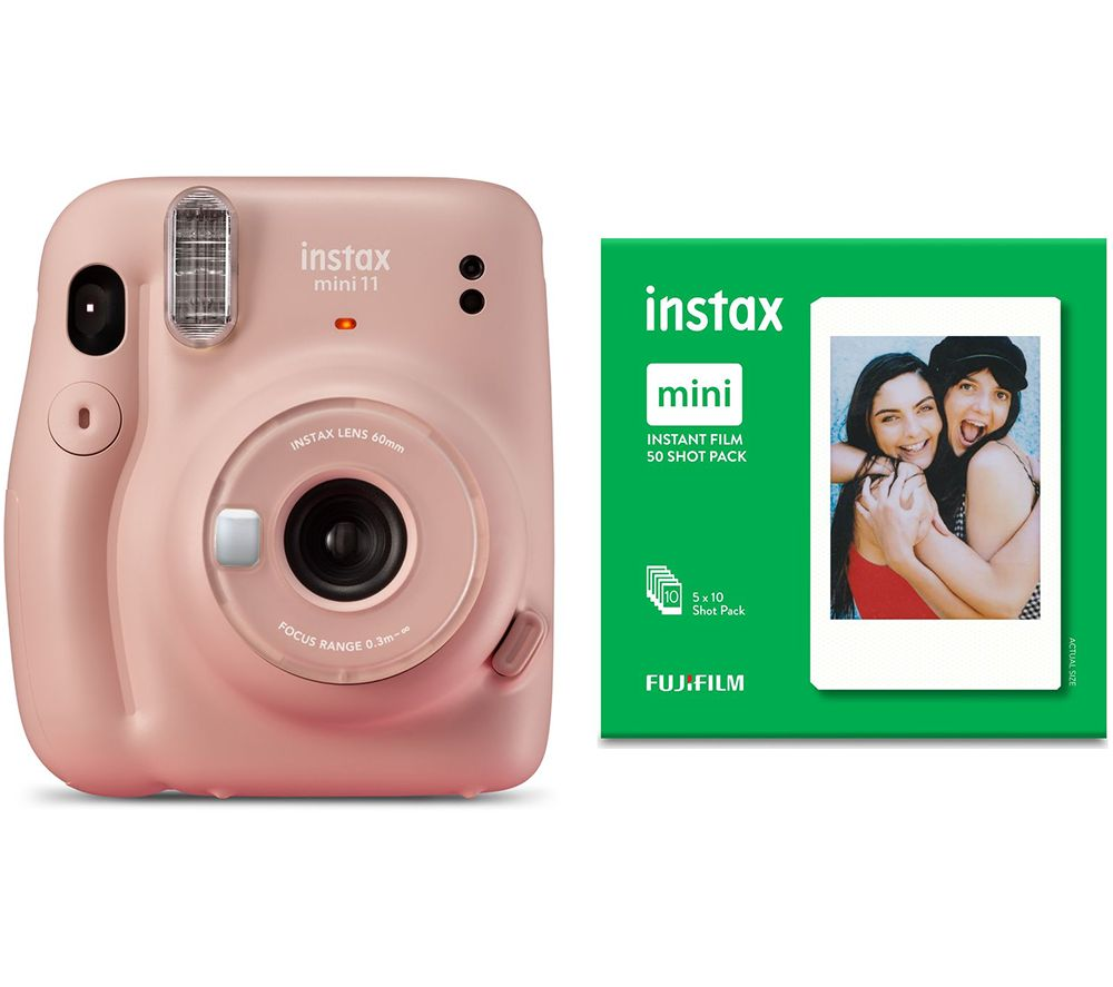 INSTAX mini 11 Instant Camera & 50 Shot Mini Film Pack Bundle - Blush Pink