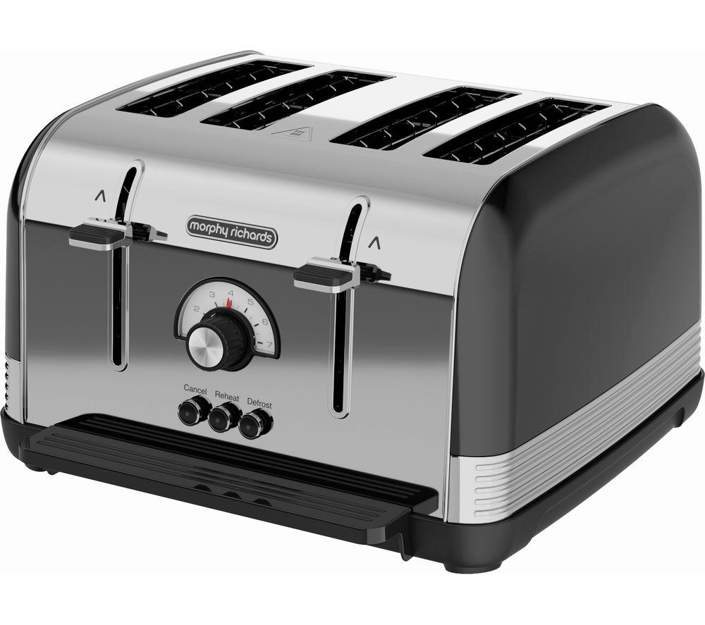 MORPHY RICHARDS Venture Retro 240331 4-Slice Toaster - Black, Black