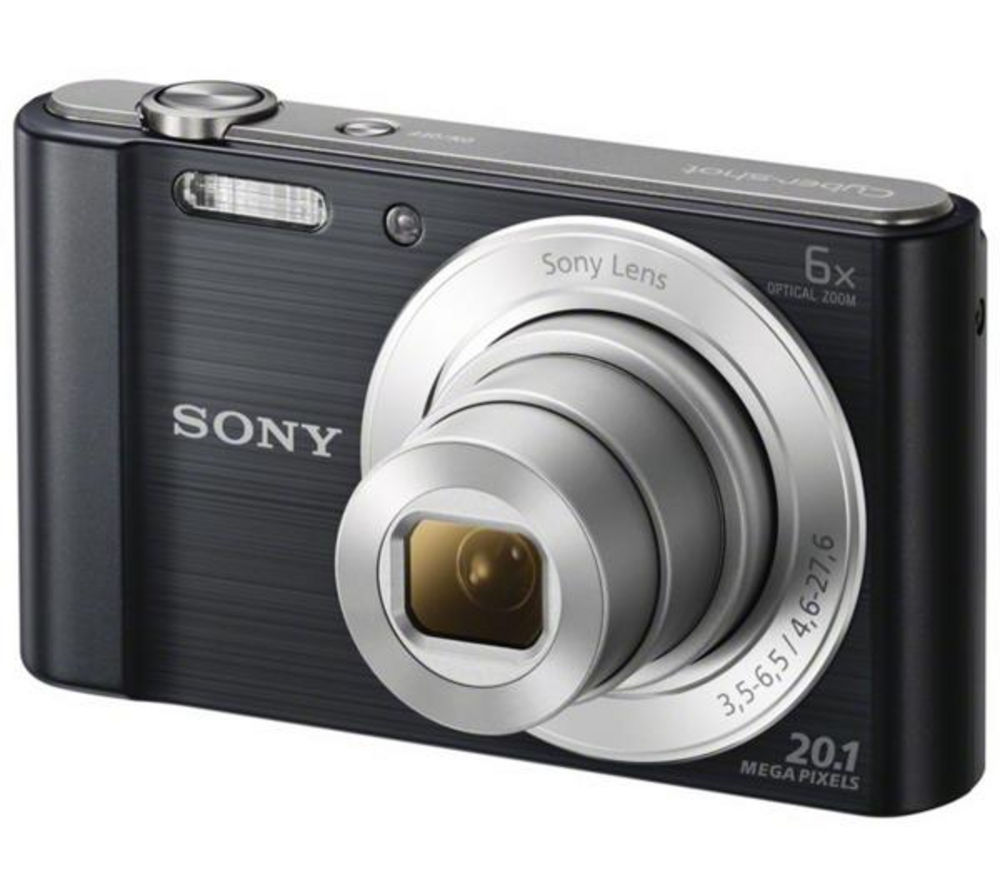 SONY Cyber-shot DSCW810B Compact Camera - Black + Hard Shell Camera Case - Black