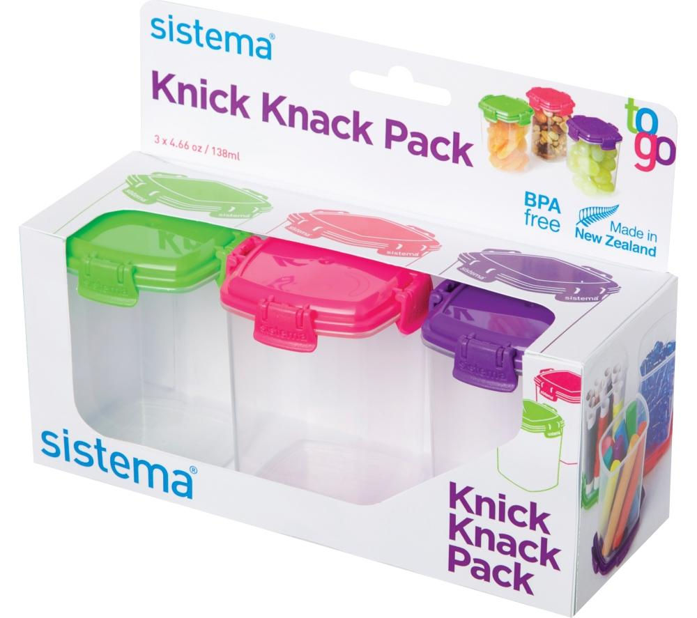SISTEMA Knick Knack Square 138 ml Boxes - Pack of Three
