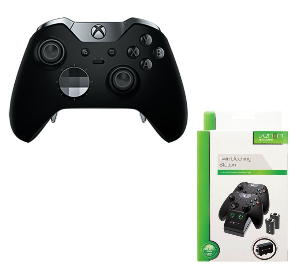 Image of MICROSOFT Xbox Elite Wireless Controller & VS2851 Xbox One Twin Docking Station Bundle