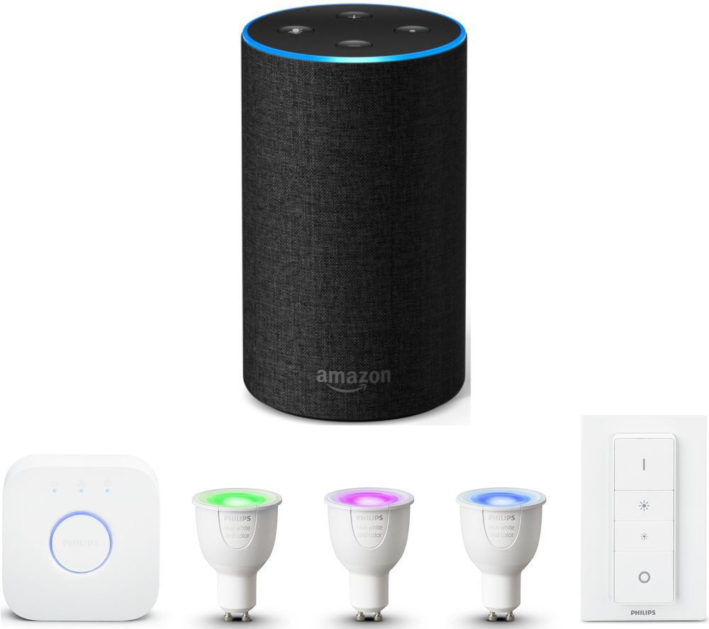 buy philips philips hue white colour ambiance gu10 starter kit amazon echo bundle free. Black Bedroom Furniture Sets. Home Design Ideas