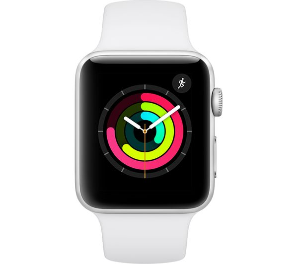 Buy APPLE Watch Series 3 - Silver & White Sports Band, 42
