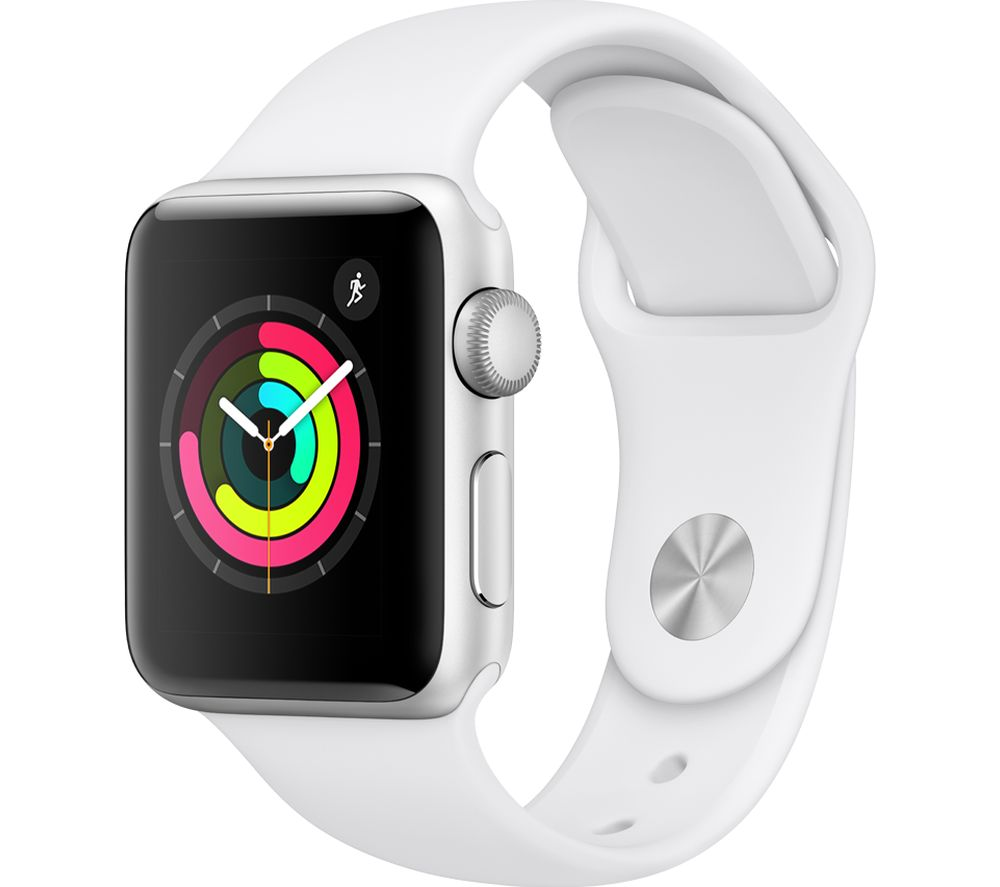APPLE Watch Series 3 - Silver & White Sports Band, 42 mm
