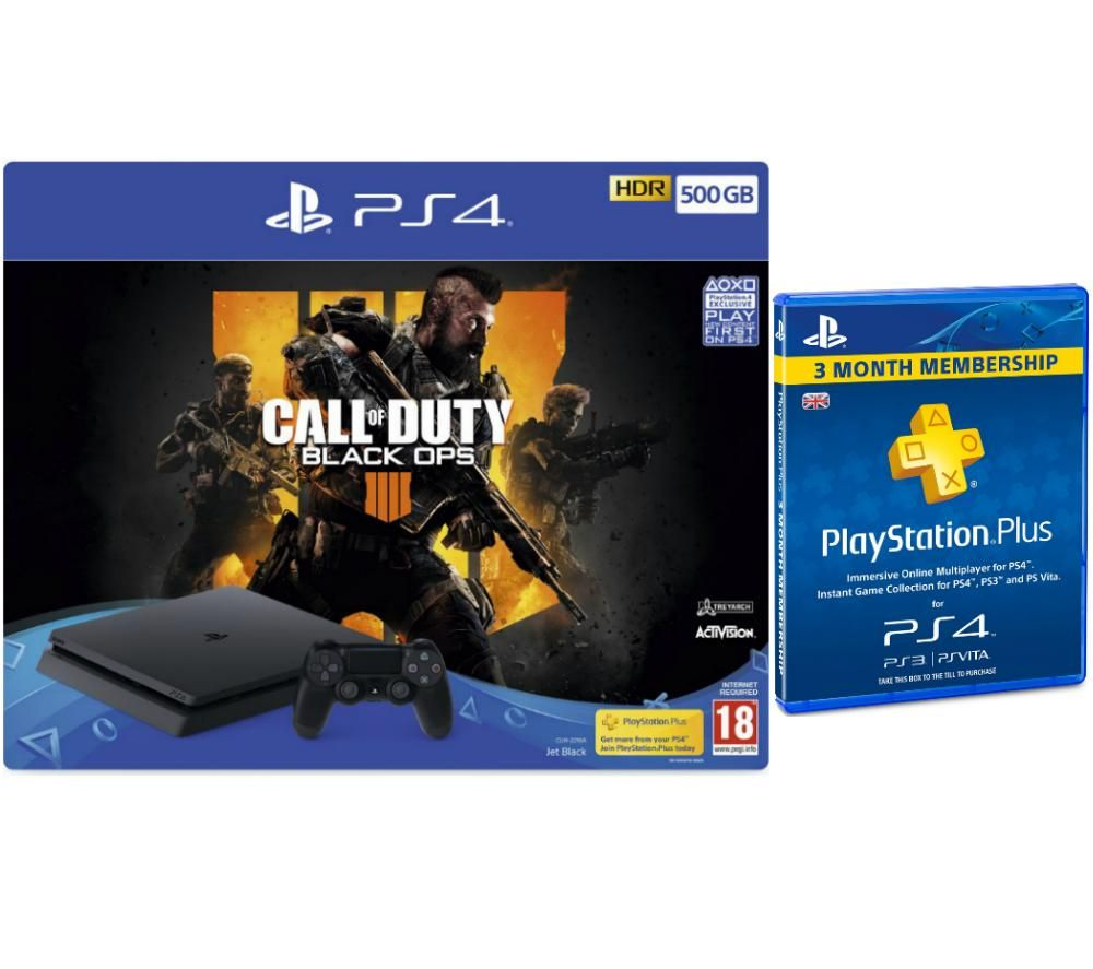 Image of SONY PlayStation 4 500 GB with Call of Duty: Black Ops 4 & PlayStation Plus Subscription Bundle, Black