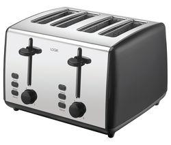 LOGIK L04TBK19 4-Slice Toaster - Black & Silver