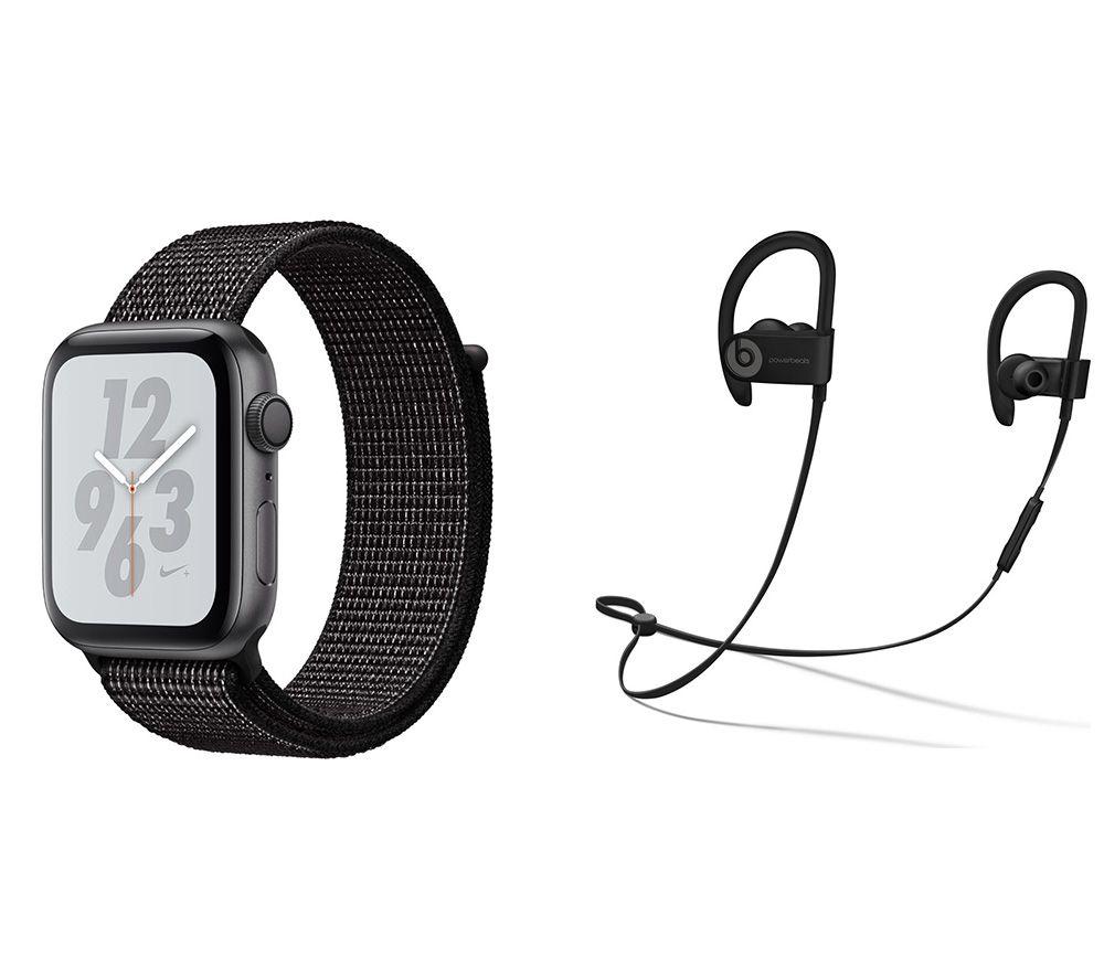 APPLE Watch Series 4 Nike & Powerbeats3 Wireless Bluetooth Headphones Bundle - Space Grey & Black Sports Band, 44 mm, Grey cheapest retail price