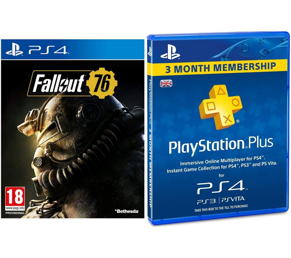 PS4 Fallout 76 & PlayStation Plus 3 Month Subscription Bundle