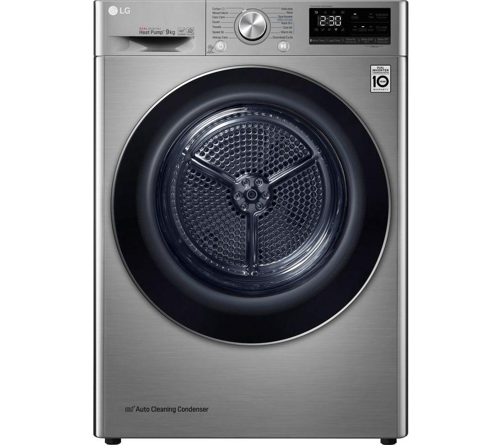 LG FDV909S WiFi-enabled 9 kg Heat Pump Tumble Dryer - Graphite, Graphite