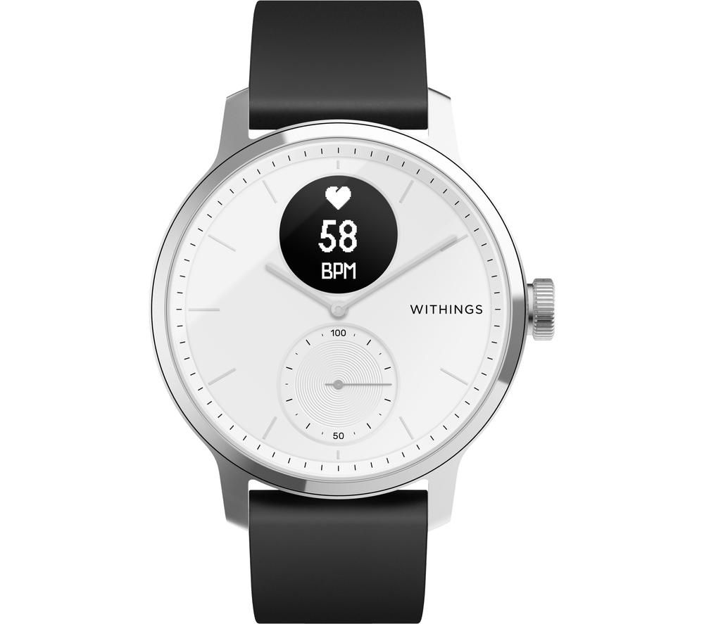 WITHINGS ScanWatch Hybrid Smartwatch - White & Black, 42 mm, White