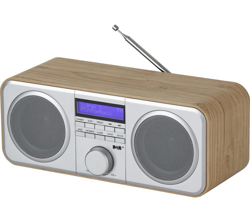 AKAI A61037 DAB+/FM Radio - Silver & Oak Wood