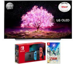 """OLED55C14LB 55"""" Smart 4K Ultra HD OLED TV, Nintendo Switch & Legend of Zelda Bundle"""