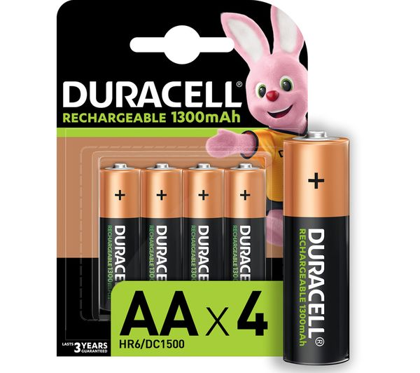 Image of DURACELL AA NiMH Rechargeable Batteries - Pack of 4