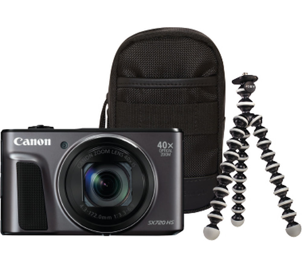 CANON PowerShot SX720 HS Superzoom Compact Camera & Travel Kit - Black + SHCOMP13 Hard Shell Camera Case - Black