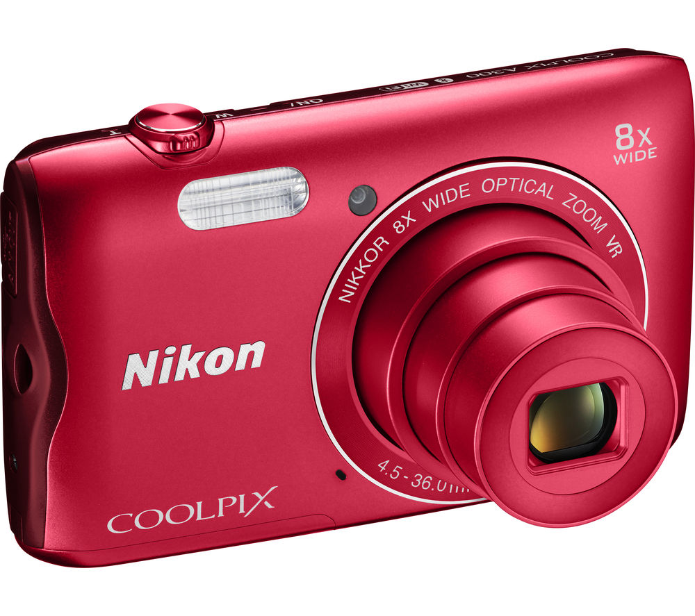 NIKON COOLPIX A300 Compact Camera - Red + SWCOM13 Camera Case - Black + Extreme Plus Class 10 SDHC Memory Card - 16 GB, Twin Pack