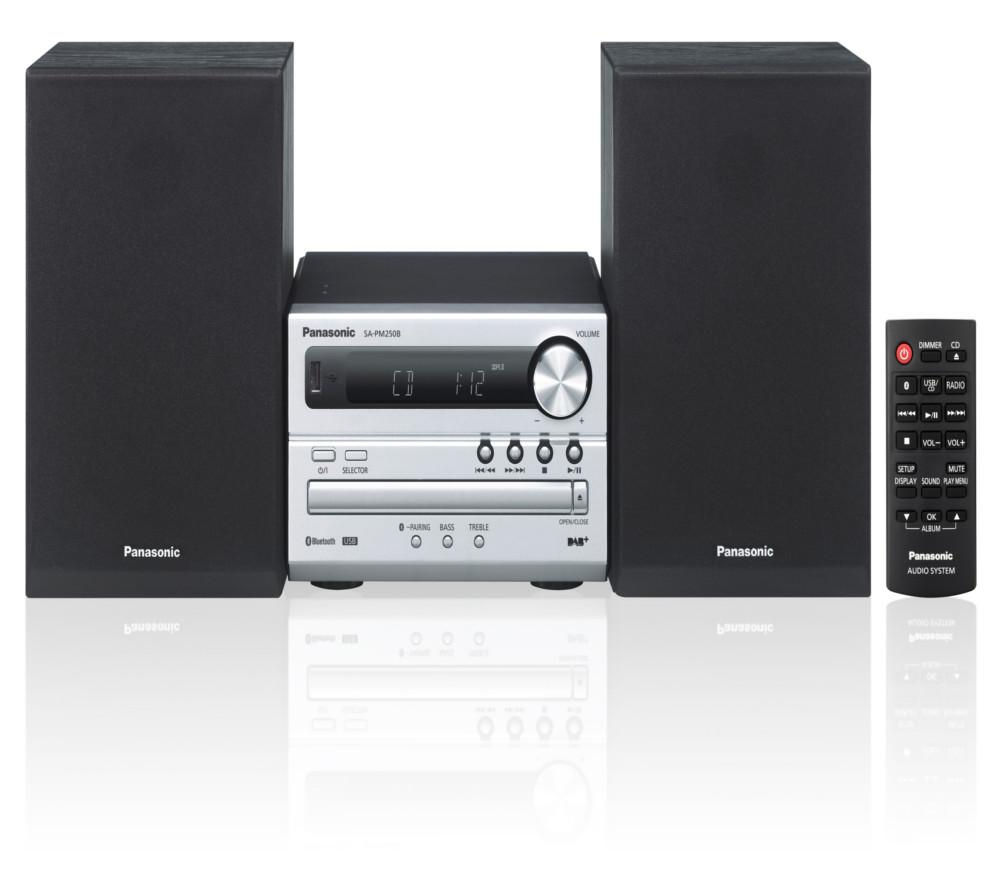 buy panasonic sc pm250bebs wireless traditional hi fi system silver free delivery currys. Black Bedroom Furniture Sets. Home Design Ideas