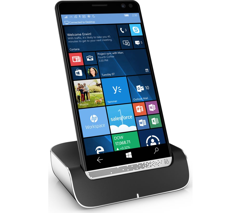 HP Elite x3 with Dock - 64 GB, Black + F2CU043bt06-BLK USB-C Cable - 1.8 m