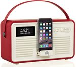 VQ Retro Mk II Portable DAB+/FM Bluetooth Clock Radio - Red
