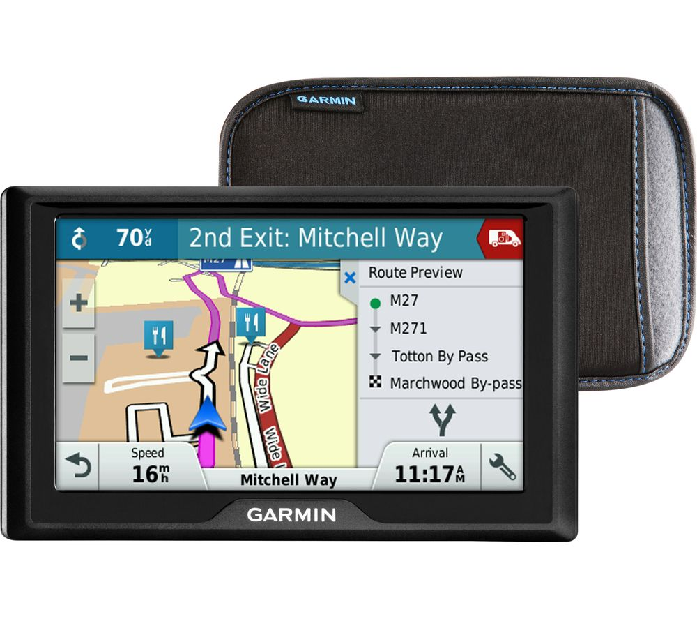 "Garmin Drive 50LM WE 5"" Sat Nav - UK & ROI & Western Europe Maps & Case + GPS Sat Nav Air Vent Mount"