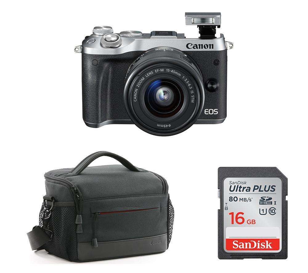 CANON EOS M6 Mirrorless Camera with 15-45 mm f/3.5-6.3 Lens & Accessories Bundle