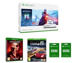 MICROSOFT Xbox One S, Battlefield V, Project Cars 2, Tekken 7 & Xbox LIVE Gold Membership x 2 Bundle