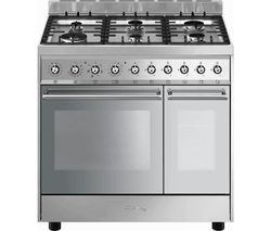 SMEG C92DX9 90 cm Dual Fuel Range Cooker - Stainless Steel Best Price, Cheapest Prices