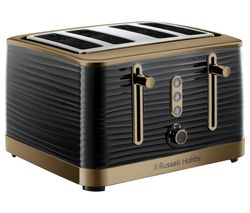 Inspire Luxe 24385 4-Slice Toaster - Black & Brass