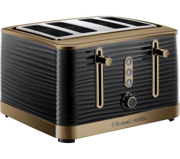 Image of R HOBBS Inspire Luxe 24385 4-Slice Toaster - Black & Brass
