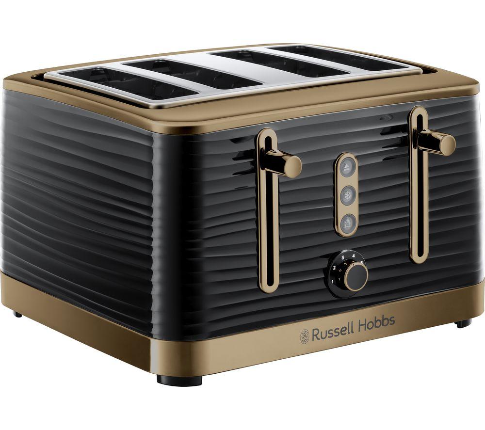 R HOBBS Inspire Luxe 24385 4-Slice Toaster - Black & Brass, Black