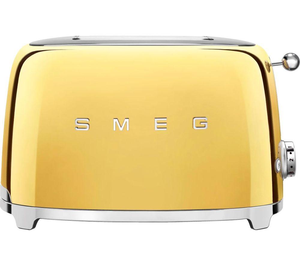 Image of SMEG 50's Retro Style TSF01GOUK 2-Slice Toaster - Gold, Gold