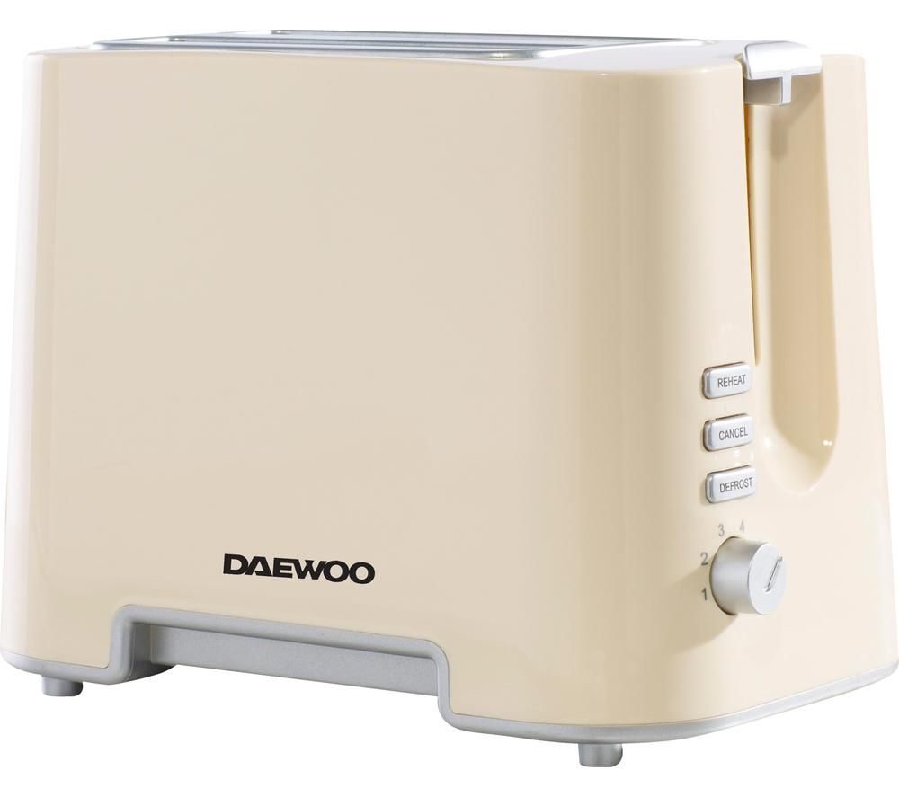 DAEWOO SDA1688 2-Slice Toaster – Cream & Chrome