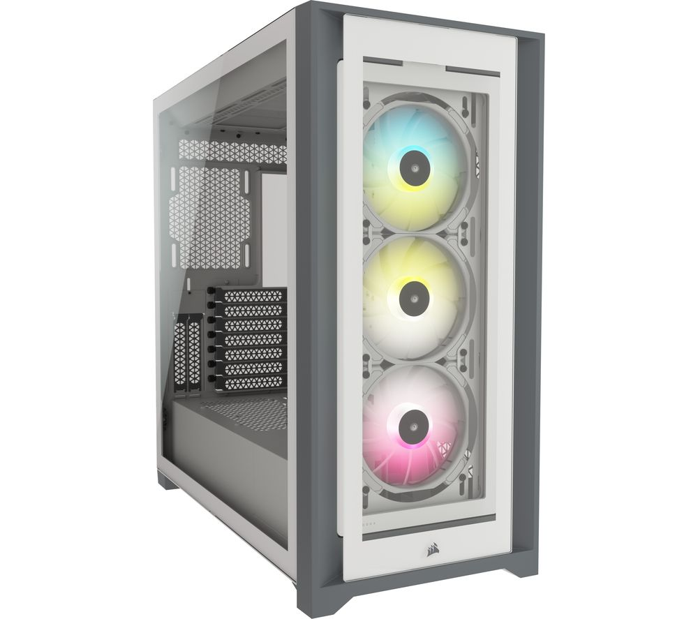 Image of CORSAIR iCUE 5000X RGB ATX Mid-Tower PC Case - White, White