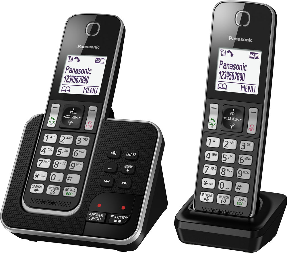 panasonic kx tgd322eb cordless phone with answering machine twin handsets deals pc world. Black Bedroom Furniture Sets. Home Design Ideas