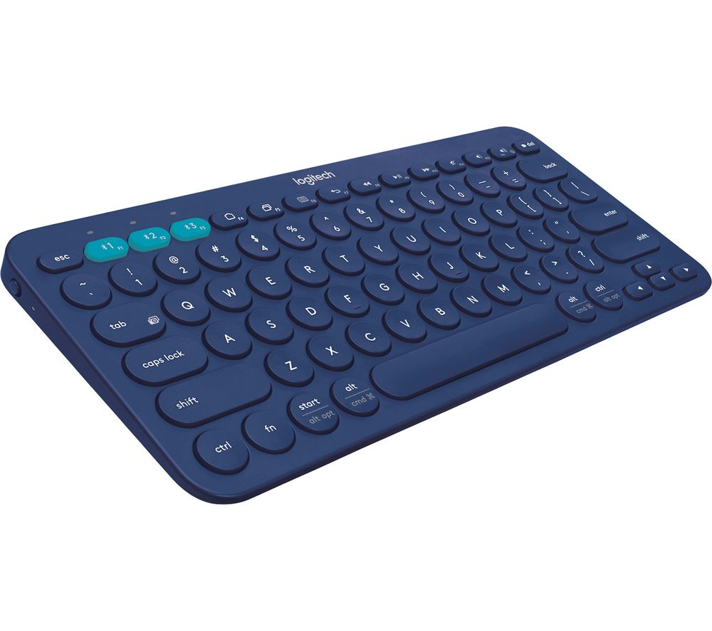 Image of Logitech K380 Multi-Device Bluetooth Keyboard - keyboard - UK - blue