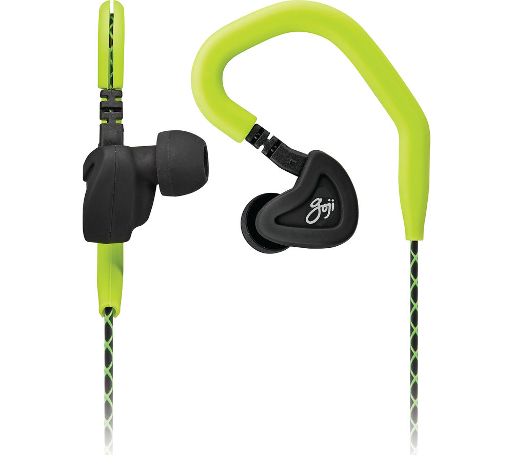 GOJI GSPOOK16 Headphones - Black & Green + iPhone 7 Lightning to 3.5 mm Headphone Jack Adapter