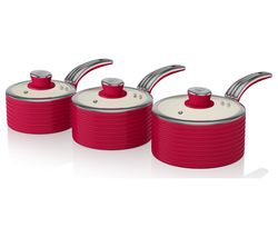 SWAN Retro SWPS3020RN 3-piece Non-stick Saucepan Set - Red