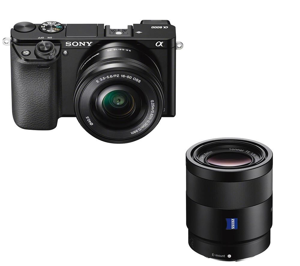 SONY a6000 Mirrorless Camera with 16-50 mm f/3.5-5.6 & 55 mm f/1.8 Lens Bundle