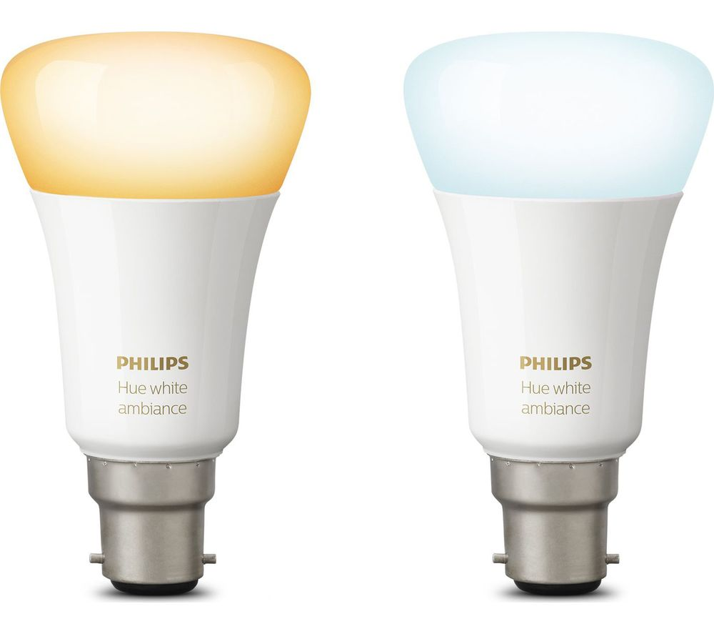 PHILIPS Hue White Ambience B22 Wireless Bulb - Twin Pack