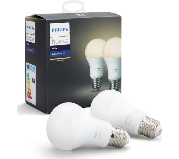PHILIPS Hue White Smart LED Bulb - E27, Twin Pack