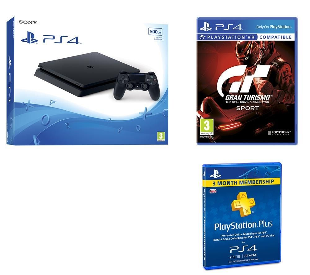 buy sony playstation 4 slim gran turismo sport 3 month playstation plus bundle free. Black Bedroom Furniture Sets. Home Design Ideas
